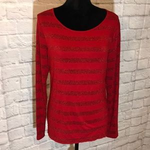 Talbots red striped glitter top ✨